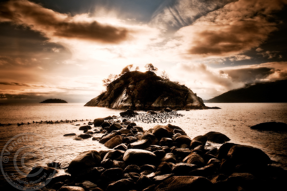 A rocky breakwater creates a fleeting path at low tide to Whyte Islet at Whytecliff Park. This is a favorite spot for divers.