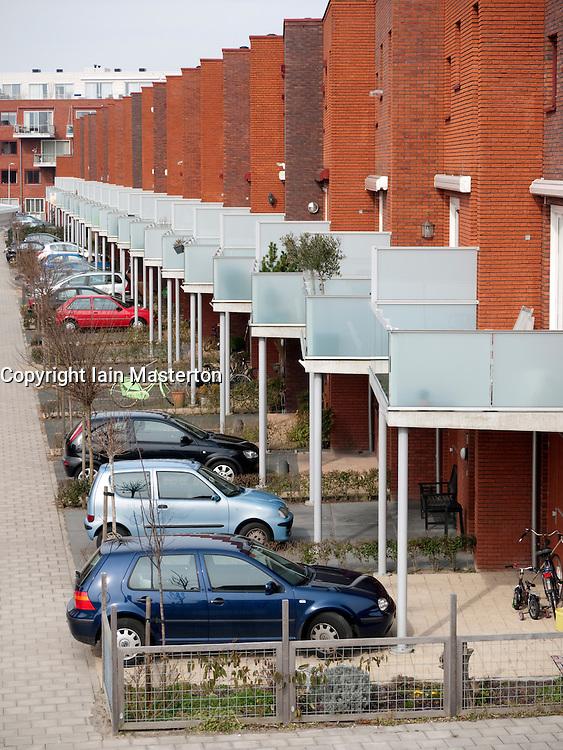 Modern residential housing in city of Leiden in the Netherlands