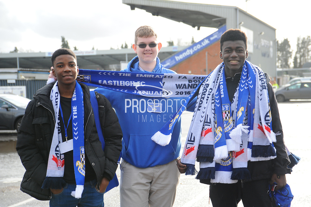 Club merchandise sellers outside the Silverlake Stadium before the The FA Cup third round match between Eastleigh and Bolton Wanderers at Silverlake Stadium, Ten Acres, Eastleigh, United Kingdom on 9 January 2016. Photo by Graham Hunt.
