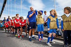 Josh Ovens gets involved as Local Junior Schools take part in activities on the iconic Clifton Suspension Bridge with Bristol Rugby Players - Mandatory byline: Rogan Thomson/JMP - 07966 386802 - 14/07/2015 - SPORT - RUGBY UNION - Bristol, England - Clifton Suspension Bridge - Webb Ellis Cup visits Bristol as part of the 2015 Rugby World Cup Trophy Tour