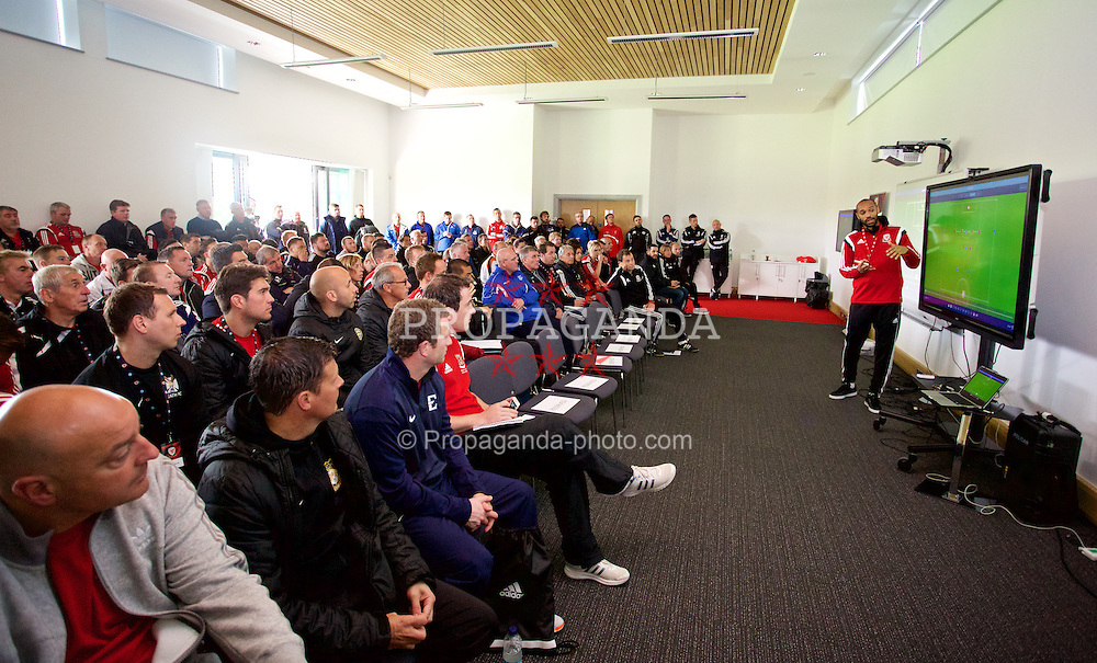 NEWPORT, WALES - Sunday, May 31, 2015: Thierry Henry uses Globall Coach during the Football Association of Wales' National Coaches Conference 2015 at Dragon Park FAW National Development Centre. (Pic by David Rawcliffe/Propaganda)
