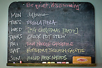 The Yeatts' weekly menu planned out on the kitchen chalk board.