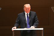 """NEW YORK - JANUARY 19:  Donald Trump speaks before """"A Tribute to Horowitz"""" presented by the American Cancer Society  at Carnegie Hall on January 19, 2012 in New York City.  (Photo by Matthew Peyton/Getty Images)"""