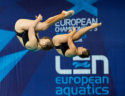 Germany's Lena Hentschel and Tina Punzel competing in the Women's Synchronised 3m Springboard Final during day eleven of the 2018 European Championships at the Royal Commonwealth Pool, Edinburgh.