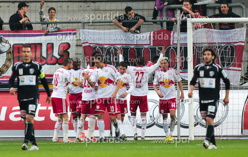 20.04.2013, Red Bull Arena, Salzburg, AUT, 1. FBL, FC Red Bull Salzburg vs RZ Pellets WAC, 30. Runde, im Bild Torjubel red Bull Salzburg // during Austrian Football Bundesliga Match, 30th round, between FC Red Bull Salzburg and RZ Pellets WAC at the Red Bull Arena, Salzburg Austria on 2013/04/30. EXPA Pictures © 2013, PhotoCredit: EXPA/ Roland Hackl