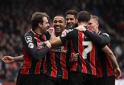 Bournemouth's Callum Wilson celebrates with teammates  - Photo mandatory by-line: Robbie Stephenson/JMP - Mobile: 07966 386802 - 14/03/2015 - SPORT - Football - Bournemouth - Dean Court - AFC Bournemouth v Blackpool - Sky Bet Championship