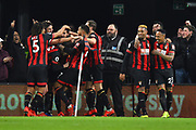 Goal - Charlie Daniels (11) of AFC Bournemouth is mobbed by his team mates after scoring a goal to give a 4-0 lead to the home team during the Premier League match between Bournemouth and Chelsea at the Vitality Stadium, Bournemouth, England on 30 January 2019.