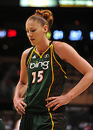 Sep 5, 2010; Phoenix, AZ, USA; Seattle Storm forward Lauren Jackson (15) reacts on the court against the Phoenix Mercury during the first half in game two of the western conference finals in the 2010 WNBA Playoffs at US Airways Center.  The Storm defeated the Mercury 91-88.  Mandatory Credit: Jennifer Stewart-US PRESSWIRE
