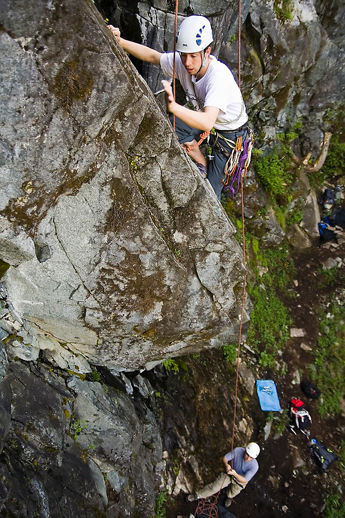 Brian Polagye rockclimbs at the Exit 38 crags near Seattle, Washington.