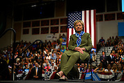 U.S. Democratic presidential nominee Hillary Clinton waits to speak at a rally in Commerce City, Colorado August 3, 2016. REUTERS/Rick Wilking