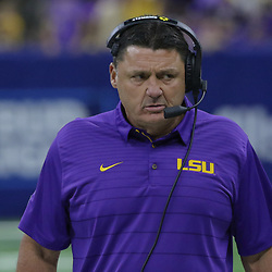Sep 2, 2017; New Orleans, LA, USA; LSU Tigers head coach Ed Orgeron against the Brigham Young Cougars during the first quarter of the AdvoCare Texas Kickoff game at the Mercedes-Benz Superdome. Mandatory Credit: Derick E. Hingle-USA TODAY Sports