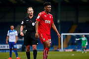 Swindon Town Swindon Town midfielder, on loan from Brighton & Hove Albion, Rohan Ince (23)  is spoked to by todays referee Mark Brown  during the EFL Sky Bet League 1 match between Bury and Swindon Town at the JD Stadium, Bury, England on 11 February 2017. Photo by Simon Davies.