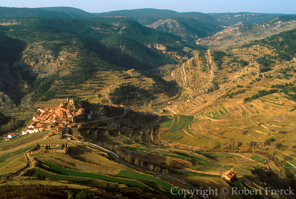 SPAIN, ARAGON Linares de Mora small town with castle in isolated Maestrazgo area east of Teruel