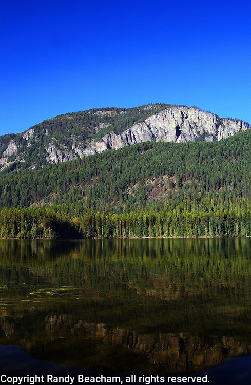 Bull Lake in fall. Cabinet Mountains, Lincoln County, northwest Montana.