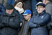 Gillingham fans bracing the cold weather during the EFL Sky Bet League 1 match between Gillingham and Wycombe Wanderers at the MEMS Priestfield Stadium, Gillingham, England on 15 December 2018.