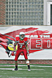 02 October 2010: Ben Ericksen awaits a kick from the Salukis during an NCAA football game where the Southern Illinois Salukis beat the Illinois State Redbirds 3817 at Hancock Stadium in Normal Illinois.