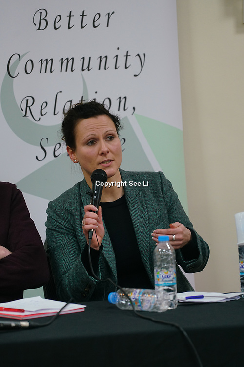 "London, England, UK. 29th November 2017. Dr Susann Wiedlitzka is an Lecturer in Criminology; Research Fellow in hate crime, School of Law join the debate ""Confronting anti-muslim hate crimes in Britain"" challenges and opportunities."