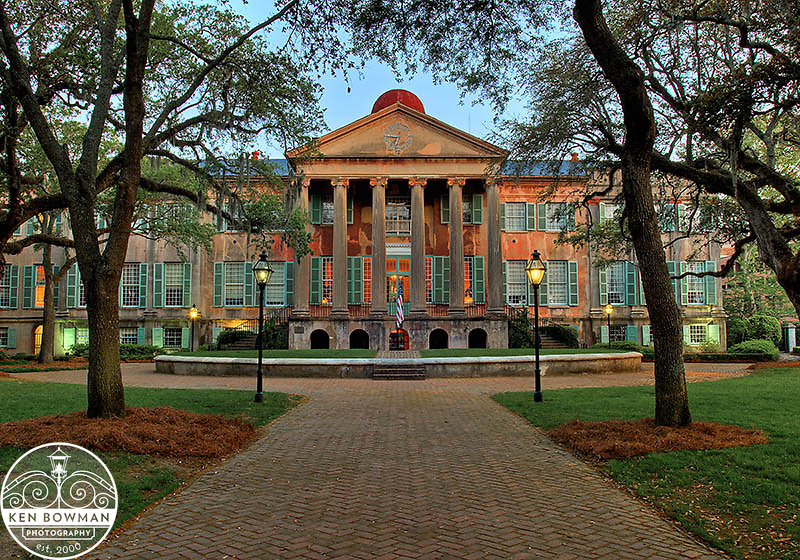 College of Charleston Randolph Hall early morning photograph.