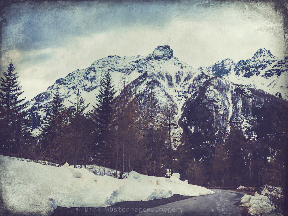 Italian Alps at the end of Winter - textured photograph<br />