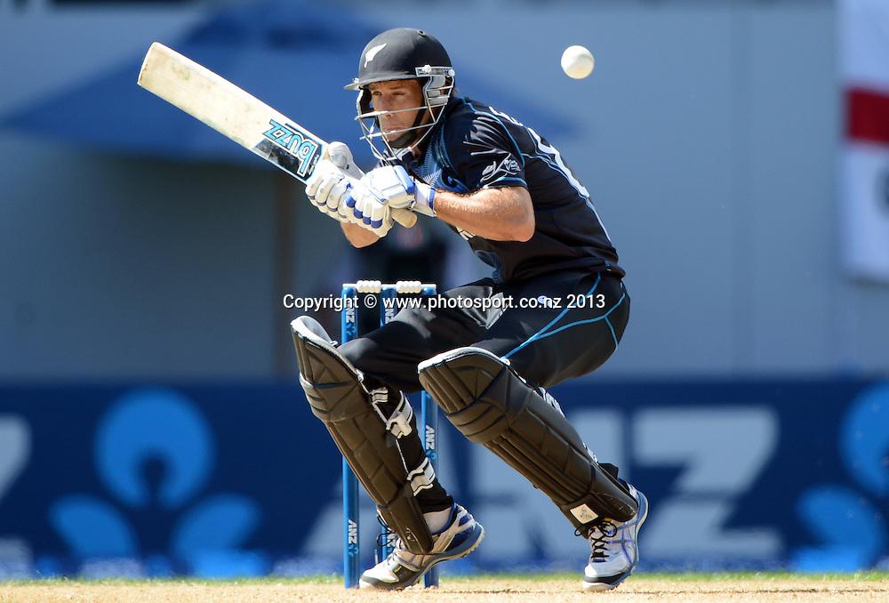 Grant Elliott ducks a bouncer. Match 3 of the ANZ ODI International one day cricket series. New Zealand Black Caps v England. Eden Park, Auckland on Saturday 23 February 2013. Photo: Andrew Cornaga/Photosport.co.nz