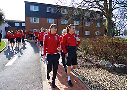 SOUTHAMPTON, ENGLAND - Friday, April 6, 2018: Wales' Gemma Evans and Kayleigh Green during a pre-match walk at the Marriott Meon Valley Hotel & Country Club ahead of the FIFA Women's World Cup 2019 Qualifying Round Group 1 match between England and Wales. (Pic by David Rawcliffe/Propaganda)