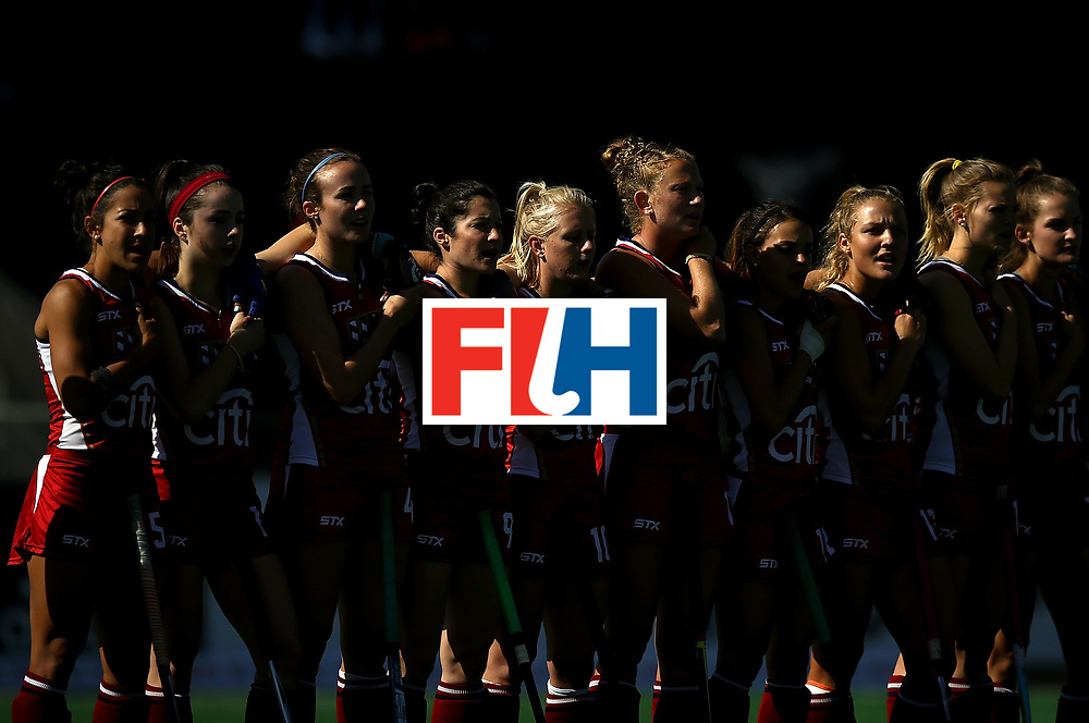 JOHANNESBURG, SOUTH AFRICA - JULY 18:  the United States team lines up for the national anthem ahead of the Quarter Final match between the United States and Japan at Wits Univesity on July 18, 2017 in Johannesburg, South Africa.  (Photo by Jan Kruger/Getty Images for FIH)