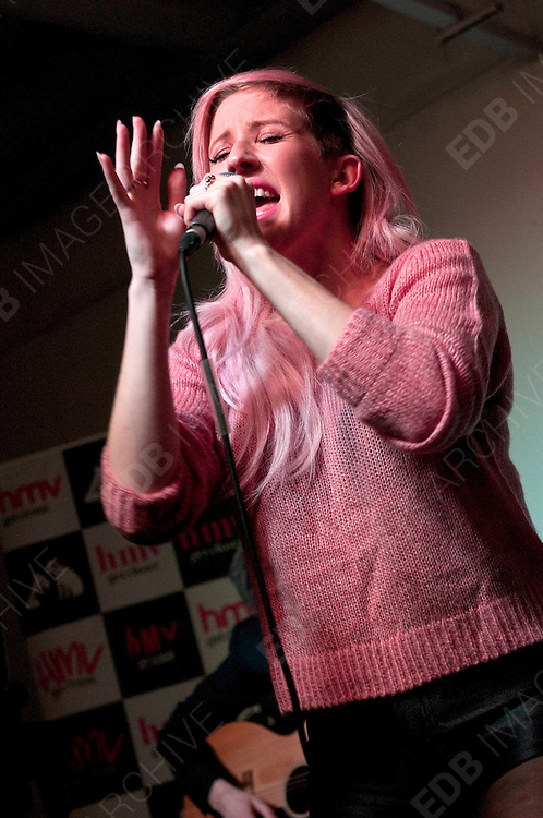 04.OCTOBER.2012. LONDON<br /> <br /> ELLIE GOULDING PERFORMS AT HMV IN MANCHESTER TO PROMOTE THE LAUNCH OF HER NEW ALBUM<br /> <br /> BYLINE: EDBIMAGEARCHIVE.CO.UK<br /> <br /> *THIS IMAGE IS STRICTLY FOR UK NEWSPAPERS AND MAGAZINES ONLY*<br /> *FOR WORLD WIDE SALES AND WEB USE PLEASE CONTACT EDBIMAGEARCHIVE - 0208 954 5968*