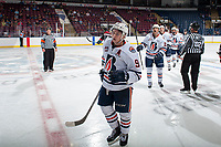 KELOWNA, CANADA - SEPTEMBER 5: Jackson Shepard #9 of the Kamloops Blazers celebrates a goal against the Kelowna Rockets on September 5, 2017 at Prospera Place in Kelowna, British Columbia, Canada.  (Photo by Marissa Baecker/Shoot the Breeze)  *** Local Caption ***
