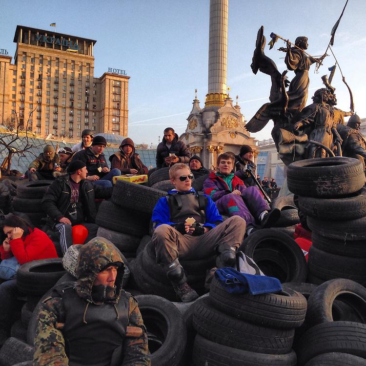 Taking in the scene on #euromaidan. #kyiv seems to have an amazing surplus of tires, Feb. 21, 2014. #ukraine #київ #україна #евромайдан #primecollective