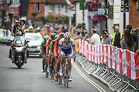 DORKING UK 31ST JULY 2016: Riders sprint through Dorking. The Prudential RideLondon-Surrey Classic in London 31st July 2016<br /> <br /> Photo: Thomas Lovelock/Silverhub for Prudential RideLondon<br /> <br /> Prudential RideLondon is the world's greatest festival of cycling, involving 95,000+ cyclists – from Olympic champions to a free family fun ride - riding in events over closed roads in London and Surrey over the weekend of 29th to 31st July 2016. <br /> <br /> See www.PrudentialRideLondon.co.uk for more.<br /> <br /> For further information: media@londonmarathonevents.co.uk