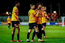 Antoine Semenyo of Newport County signs for the Wrexham fans to be quiet after their own goal gives Newport County a 3-0 lead - Mandatory by-line: Ryan Hiscott/JMP - 11/12/2018 - FOOTBALL - Rodney Parade - Newport, Wales - Newport County v Wrexham - Emirates FA Cup second round proper