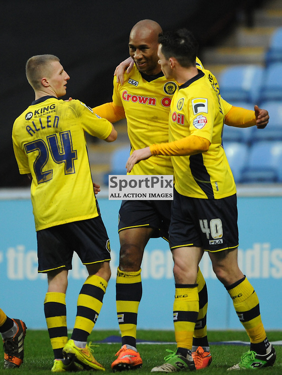 Rochdale Celebrate Callum Andrew Equaliser At Coventry, Coventry City v Rochdale, League One, Ricoh Arena, Saturday 31st January 2015