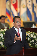 El vicepresidente de Republica Dominicana Julio Cesar Valentin ofrece un discurso Viernes AGT 24, 2012 en la asamblea legislativa San Salvador, El Salvador durante una reunion de presidentes y vipresidentes de poderes legislativo de centro america y la cuenca del caribe. Foto: Franklin Rivera/fmln/Imagenes Libres.
