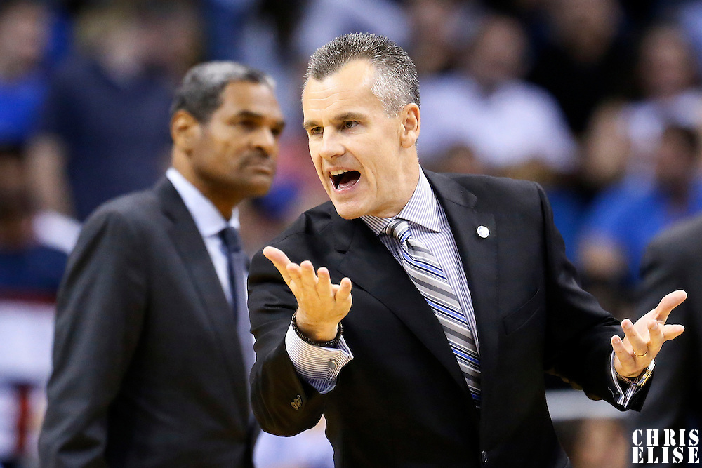 30 October 2015: Oklahoma City Thunder head coach Billy Donovan reacts during the Oklahoma City Thunder 139-136 double overtime victory over the Orlando Magic, at the Amway Center, in Orlando, Florida, USA.