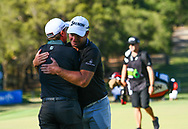 PERTH, AUSTRALIA - FEBRUARY 17: Ryan Fox (NZL) gets a hug from Paul Dunne (IRL) on the 18th after the match play of the ISPS Handa World Super 6, Lake Karrinyup Country Club, Perth, Western Australia, on February 17, 2019. <br /> .<br /> .<br /> .<br /> (Photo by: Naratip Golf Srisupab/SEALs Sports Images)<br /> .<br /> Any image use must include a mandatory credit line adjacent to the content which should read: Naratip Golf Srisupab/SEALs Sports Images