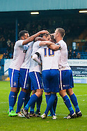 Danny Mayor of Bury (No.10) is mobbed by team mates after scoring his sides second goal during the FA Cup match at Gigg Lane, Bury<br /> Picture by Matt Wilkinson/Focus Images Ltd 07814 960751<br /> 07/11/2015