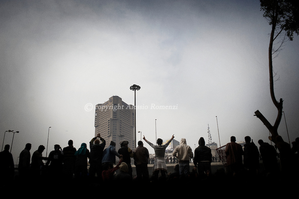 Clashes in Tahrir square in Cairo on February 3, 2010. © ALESSIO ROMENZI