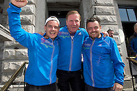 "After walking 108 miles from Donegal to Galway, Ronnie Whelan's ""Myaware.ie Annual Walk"" in aid of Myasthenia, arrived to Hotel Meyrick in Galway city centre was Danny O'Carroll aka Buster from Mrs. Brown's boys son of Brendan, Ronnie Whelan and  Love/Hate's Elmo Laurence Kinlan  . Photo:Andrew Downes"