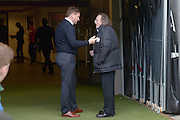 MK Dons chairman Pete Winkleman in an animated discussion with MK Dons manager Karl Robinson before the Sky Bet Championship match between Milton Keynes Dons and Brentford at stadium:mk, Milton Keynes, England on 23 April 2016. Photo by Dennis Goodwin.