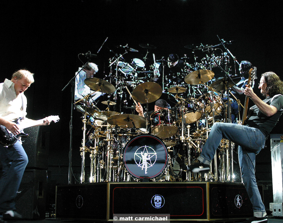 TINLEY PARK, IL -- June 05: Rush perform at the Tweeter Center in the Chicago suburbs as part of their 30th anniversary tour. (Photo by Matt Carmichael)