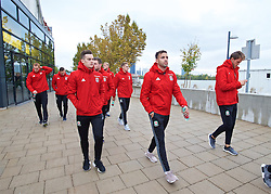 VIENNA, AUSTRIA - Thursday, October 6, 2016: Wales' Tom Lawrence and Hal Robson-Kanu during a pre-match walk at the Hilton Danube Waterfront Hotel ahead of the 2018 FIFA World Cup Qualifying Group D match against Austria. (Pic by David Rawcliffe/Propaganda)