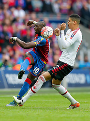 Yannick Bolasie of Crystal Palace clears past Chris Smalling of Manchester United - Mandatory byline: Rogan Thomson/JMP - 21/05/2016 - FOOTBALL - Wembley Stadium - London, England - Crystal Palace v Manchester United - FA Cup Final.