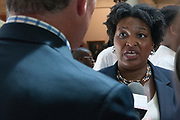 House Minority Leader Stacey Abrams speaks to reporters about the press conference she just held regarding the voter fraud investigation.