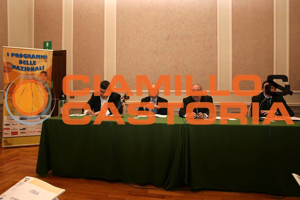 DESCRIZIONE : Milano i programmi delle Nazionali per il 2008 <br /> GIOCATORE : Cacciuni Mattioli Maifredi Recalcati <br /> SQUADRA : Nazionale Italia <br /> EVENTO :  programmi Nazionali 2008 <br /> GARA : <br /> DATA : 03/03/2008 <br /> CATEGORIA : <br /> SPORT : Pallacanestro <br /> AUTORE : Agenzia Ciamillo-Castoria/G.Ciamillo