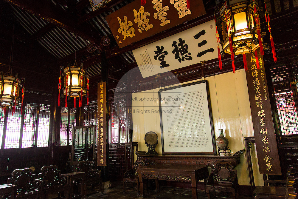 Interior view of the Sansui Hall or Three Corn Ears Hall in Yu Yuan Gardens Shanghai, China