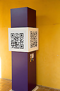 Black and white cube showing Quick Response Code or QR code to link with a website