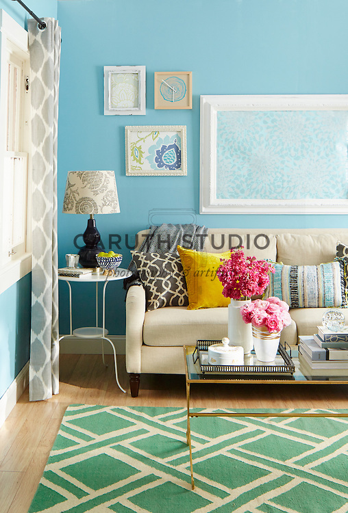 Decorating in Stages: Final stage with bright color accents in geometric and floral motifs