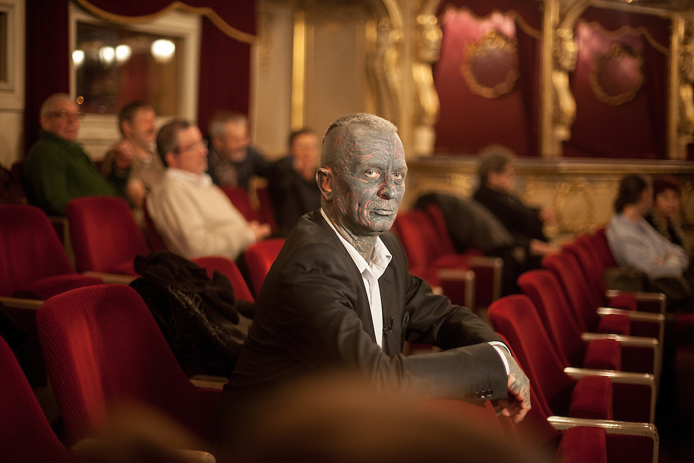 """Prof. Vladimír Franz at the Prague National Opera during the final rehearsal of his new opera """"War with the Newts"""" (by Karel Capek). Franz is a prominent Czech composer and painter, stage music author and also a registered candidate in the 2013 Czech presidential election."""
