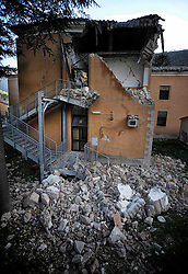 Earthquake in Valnerina. In the photo: primary school Peter Capuzzi unusable Visso. NO WEB *** *** *** NO DAILY