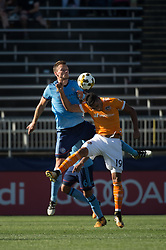 September 23, 2017 - East Hartford, Connecticut, U.S - New York City FC defender FREDERIC BRILLANT (13) fights for the ball with Houston Dynamo forward MAURO MANOTAS (19) during a game at Pratt & Whitney Stadium at Rentschler Field, East Hartford, CT.  New York City FC draw with the Houston Dynamo 1 to 1 (Credit Image: © Mark Smith via ZUMA Wire)